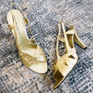 bandolino | strappy gold dress heels size 8.5